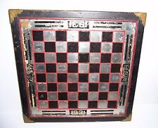 """Vintage Wood & Glass Mirrored Chess Checkers Game Board MWH MER 1931 17"""" x 17"""""""