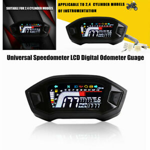 Motorcycle LED Speedometer LCD Digital Odometer Guage Meter For Cylinder