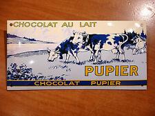 PLAQUE EMAILLEE bombée CHOCOLAT AU LAIT PUPIER VACHES  cuisine ENAMEL tin sign