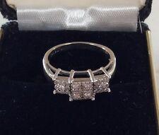 DESIGNER DIAMOND COCKTAIL RING 14K WHITE GOLD SIZE 8 LADIES JWBR