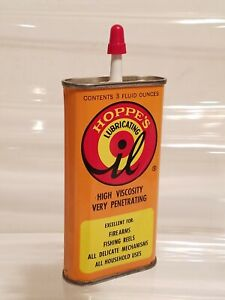 Vintage HOPPE'S Gun Lubricating OIL CAN Tin Can PENGUIN INDUSTRIES