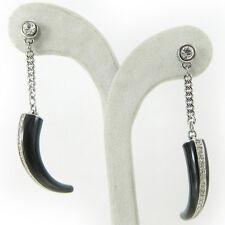 Swarovski orecchini originali donna a clip pendente corno nero con cristalli
