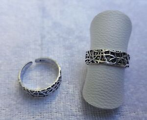 Adjustable Sterling Silver Pattern Toe/Pinky/Finger Ring 925 - 170B5
