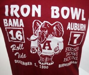 Vtg 1990 Iron Bowl Alabama Crimson Tide 16-7 vs Auburn T Shirt Adult XS Youth XL