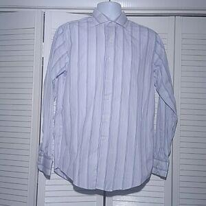 Brooks Brothers Egyptian Cotton Dress Shirt, 16-35, US Made Striped White Blue