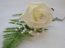 IVORY 'CHAMPAGNE FOAM ROSE' & DIAMANTE BUTTON HOLE CORSAGE WEDDING FLOWERS
