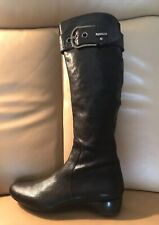 Authentic Stuart Weitzman Black Leather Women's Tall Boots Size 10 1/2 Wedge
