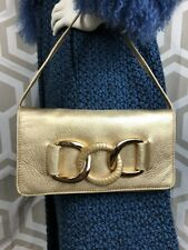 Michael Kors Gold Pebbled Leather Handbag Clutch W/removeable  strap Ships Free