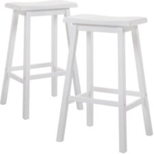 "Gaucho Set of 2 Kitchen Dining 29""H Bar Saddle Stools Barstool Solid Wood White"