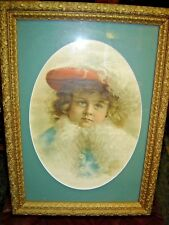 antique Framed Victorian Girl with Red Plumed Hat and Boa.  7269