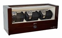 Pangaea Q630-M Six Watch Winder with Cover Lock and Key for 6 Watches Mahogany
