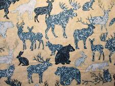 MOOSE DEER BEAR WOLF ANIMALS BLUE BEIGE COTTON FABRIC FQ