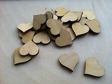 50x Wooden 3cm Heart shapes Laser Cut Blank Embellishments Craft