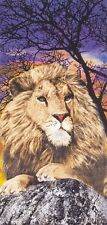"Lion King of the Jungle Beach Towel - 30"" x 60"" - Velour - Made In Brazil"