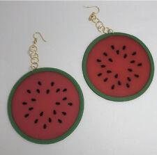 Giant Huge Watermelon Fruit, Earrings Kitsch Slice Oversized Gold , Large 13.5
