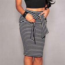 M&C Women Casual Bandage Skirt Slim High Waist Striped Mini Bottoms FO