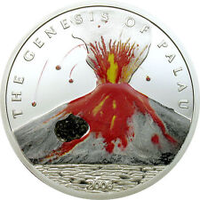 2006 Genesis of Palau Proof Silver $5 Volcano and Real Lava Rock only 2,500 made