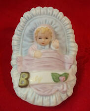 Growing Up Birthday Girls - Baby in Cradle Figurine - by Enesco #E-3399- 1983