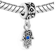 2 Sided Blue Hamsa Eye Hand Protection Against Evil Eye Dangle Charm Jewelry Bea