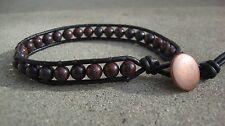 Men's Beaded Leather Bracelet With Obsidian Stones handmade USA