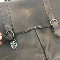 SOLO Brown Leather Briefcase/Attache slightly distressed condition