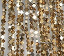 "4X4MM 18K GOLD HEMATITE GEMSTONE CROSS 4X4MM LOOSE BEADS 15.5"""