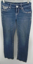 LA Idol Jeans USA Straight Leg Embellished Size 7  30 X 32 Medium Blue Denim