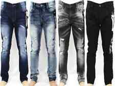 WT02 Men Skinny Jeans Ripped Stretch Denim Pants Distressed Slim Fit