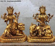 Chinese Bronze Manjusri Samantabhadra Guanyin Kwan-yin Avalokiteshvara Statue