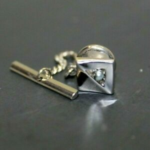 Vintage Swank Tie Tack And Chain Small Square With Silver Pearl Accent Business