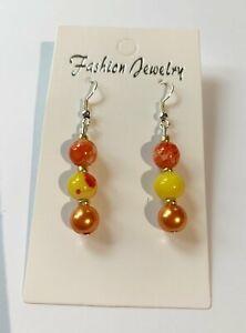 Silver Plated, beaded, Dangle Earrings. for pierced Ears, orange, yellow, gold