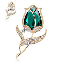 Elegant Rose Crystal Simplicity Wedding Bridal Bouquet Brooch Pin Jewelry Gift
