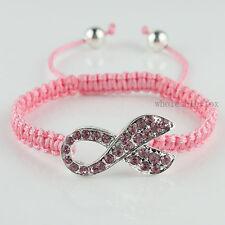 Pink Crystal Ribbon Charms Bracelet Breast Cancer Awareness Bangle Adjustable