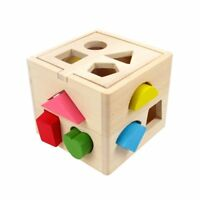 Montessori Educational Wooden Shape-Sorter Cube Pre-Kindergarten Toy for Toddler