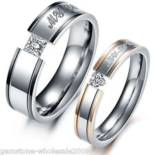 2017 NEW 1PC Stainless Steel Ring Couple Rings Rhinestone Engagement GW