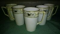 "Antique Set of 5 Nippon 4"" Lemonade Cups Mugs Cream White Gold Floral Beading EX"