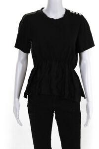 3.1 Phillip Lim Womens Pearl Shoulder T Shirt Black Cotton Size Large 12448700