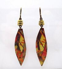 Boots Raven Handcrafted Birch Wood Earrings Brown & Orange Hand Painted Earrings