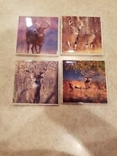 Deer Collage 4x4 Ceramic Coasters Handmade set of 4