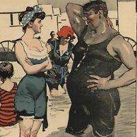 Beach encounter woman bathing suit c.1911 Art Nouveau Jugendstil old color print