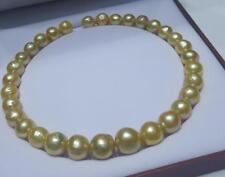 """huge 18""""12-15mm natural south sea gold baroque pearl necklace"""