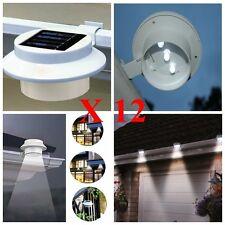 Solar Powered 3LED Fence Gutter Light for Garden Pathway down light 12 PACK ABE
