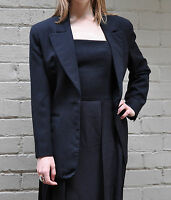 Norma Kamali OMO Black Wool 3 Button Blazer Jacket 8 Womens