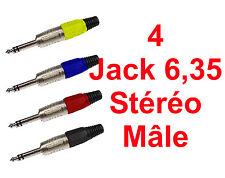 4 Fiches Jack 6,35 STEREO  Mâle Livré en 4 Couleurs Connections à Souder