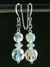 Vintage Aurora Borealis Faceted Glass Crystals & Sterling Silver Bridal Earrings