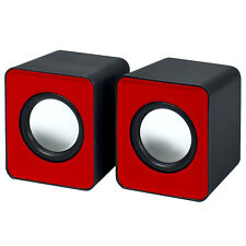 2.0 USB Powered Portable Dual Mini Speakers for Computers - Red by Frisby