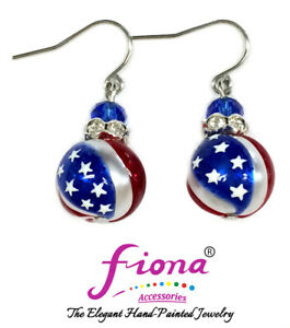 USA Earrings Flag Star Patriot 4th of July Independence Day Drop Earrings