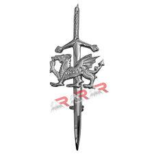 "AAR Chrome Plated Kilt Pin Welsh Dragon Badge 4"" Brass Unisex Adult Hoses"