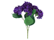 "Hydrangea Bush 5 Heads Artificial Silk Flowers 19"" Bouquet 1938 PU"