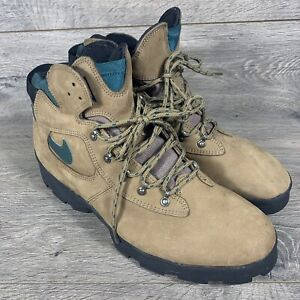 Vintage 90s Nike Air ACG Lace up Hiking Boots Men's 14 Brown Green Leather